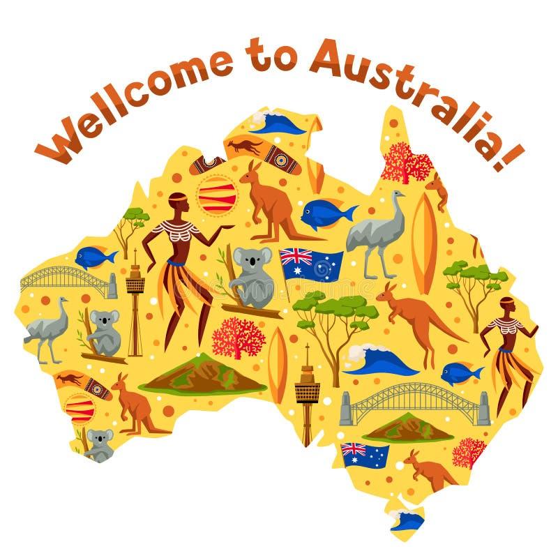 Australia mapy projekt Australijscy tradycyjni symbole i przedmioty ilustracja wektor