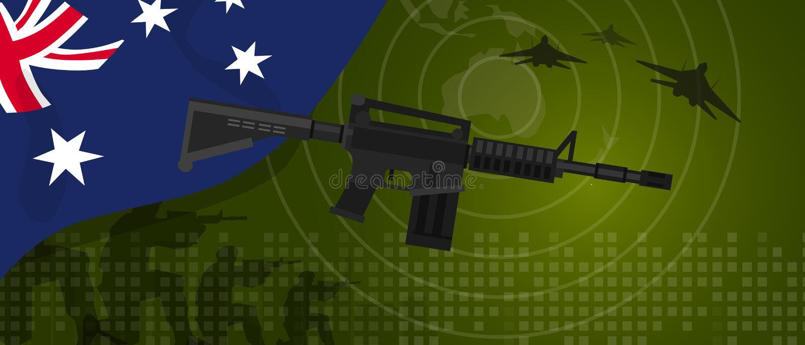 Australia military power army defense industry war and fight country national celebration with gun soldier jet fighter vector illustration