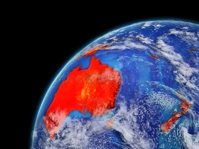Australia on model of planet Earth with very detailed planet surface and clouds. Continent highlighted in red. 3D illustration. Elements of this image vector illustration