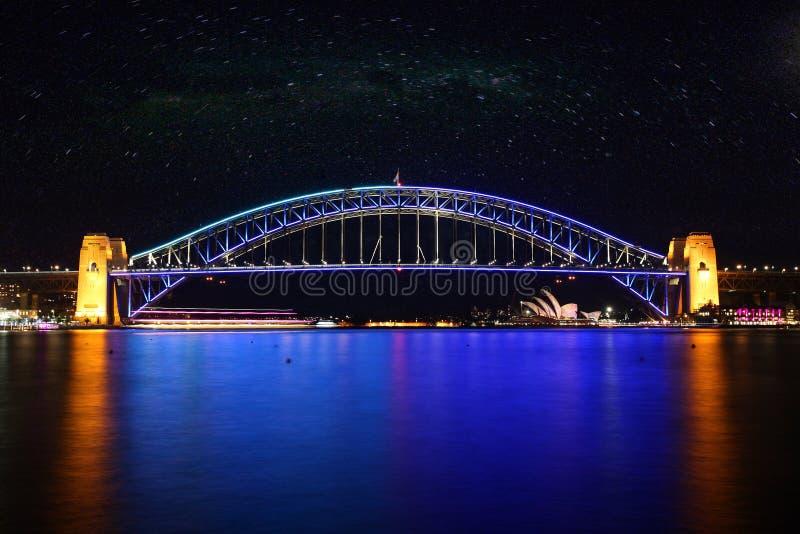 australia mostu portu Sydney noc obraz royalty free