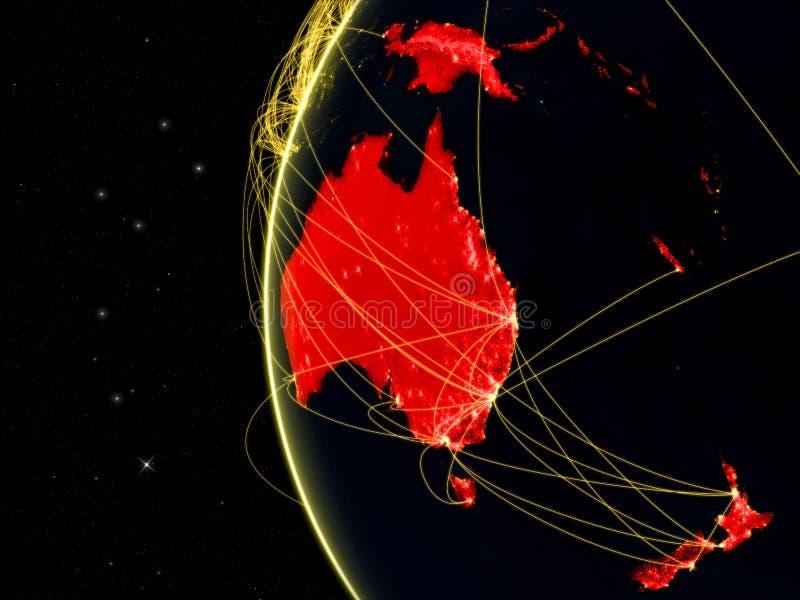 Australia na zmrok ziemi z siecią reprezentuje telekomunikacje, internet lub międzykontynentalnego ruch powietrznego, ilustracja  ilustracji