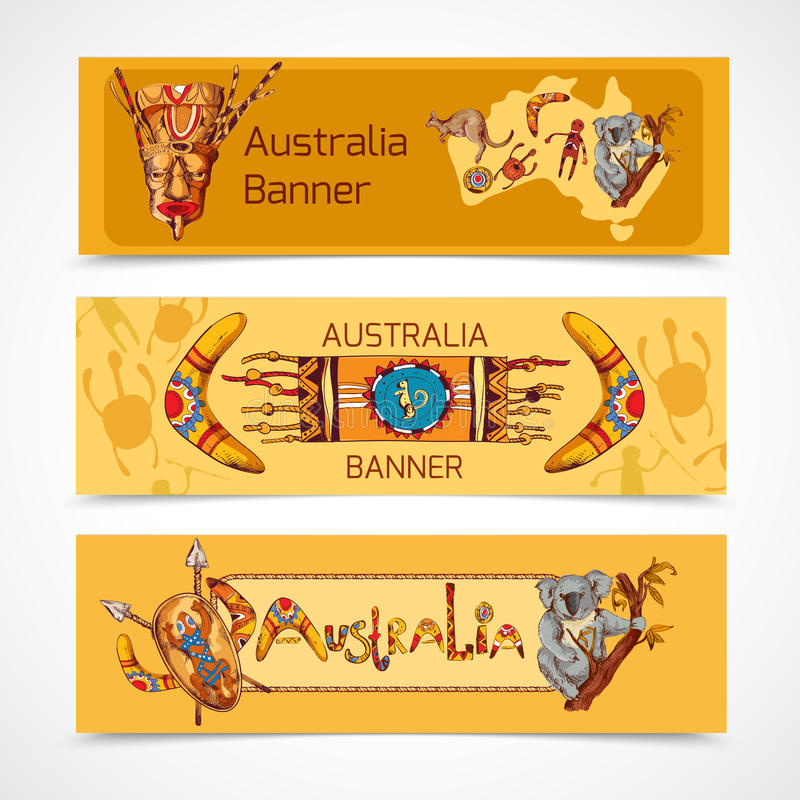 Australia nakreślenia sztandary horyzontalni royalty ilustracja