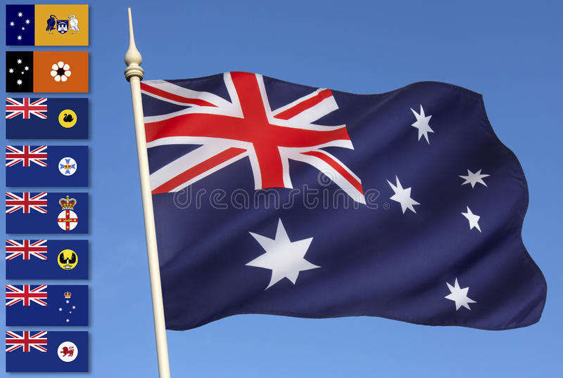 Australia - National and Provincial Flags royalty free stock image