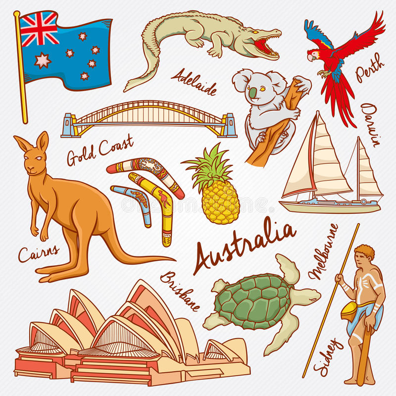 Australia nature and culture icons doodle set vector illustration stock photo