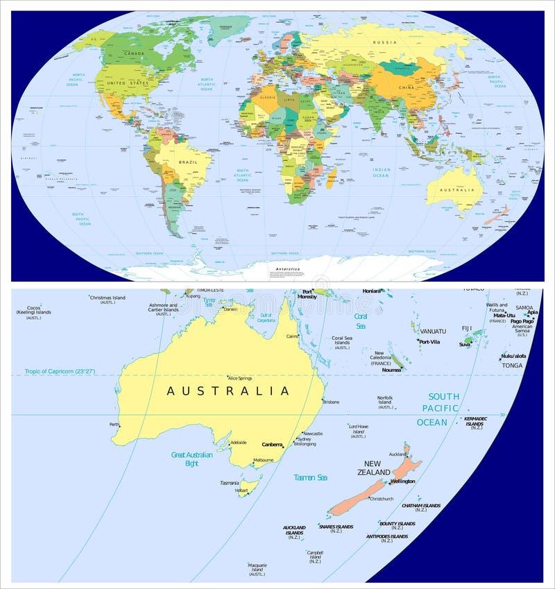 Australia new zealand world stock illustration illustration of world map and close up of australia new zealand gumiabroncs Choice Image
