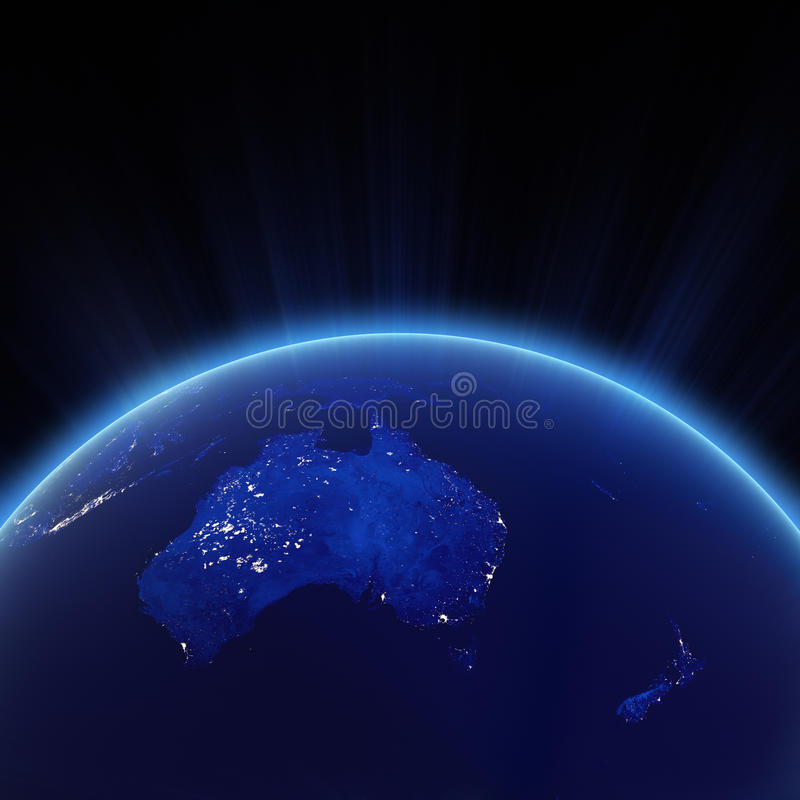 Australia and New Zeland city lights at night. Elements of this image furnished by NASA stock illustration