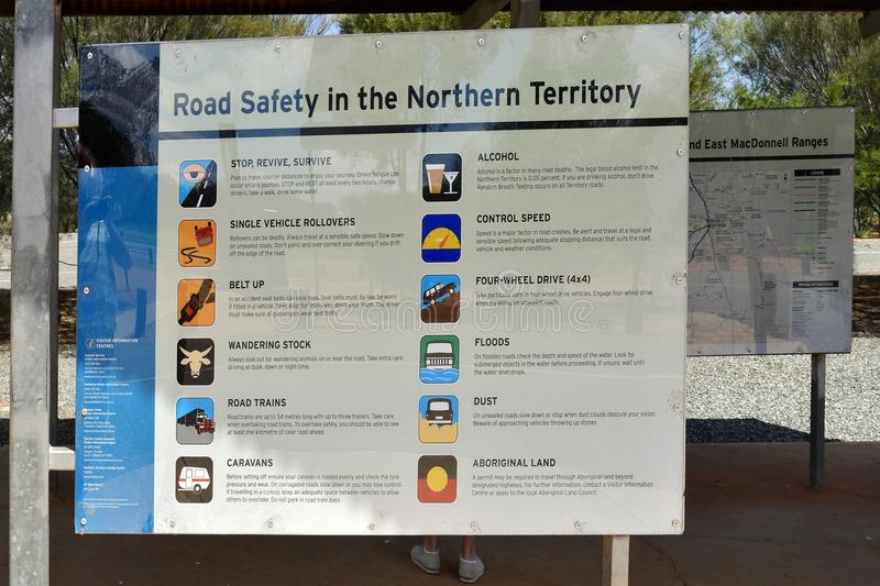 Australia, Northern Territory, information. Stuart Highway, NT, Australia - November 15, 2017: Board with information, warnings and rules for driving in Northern royalty free stock image