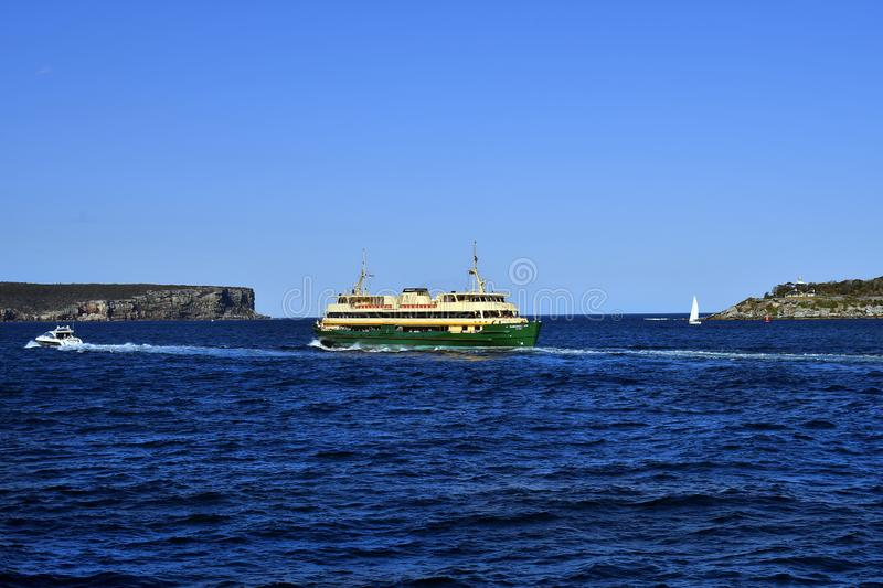 Australia, NSW, Sydney, public ferry. Sydney, NSW, Australia - October 29, 2017: Public ferry between the strait of North Head and South Head, Ferries are a stock image