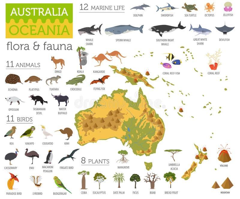 Australia and Oceania flora and fauna map, flat elements. Animal stock illustration