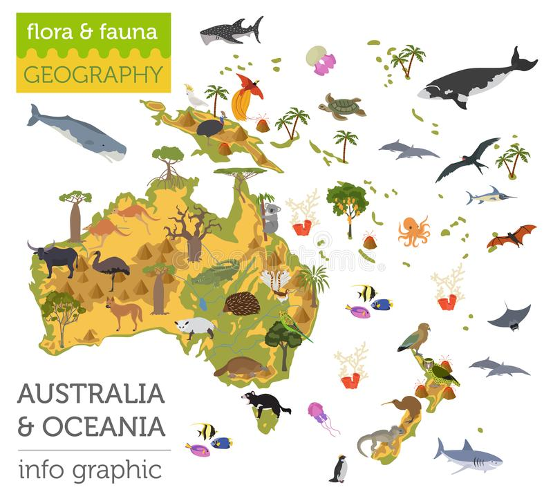 Australia and Oceania flora and fauna map, flat elements. Animal royalty free illustration