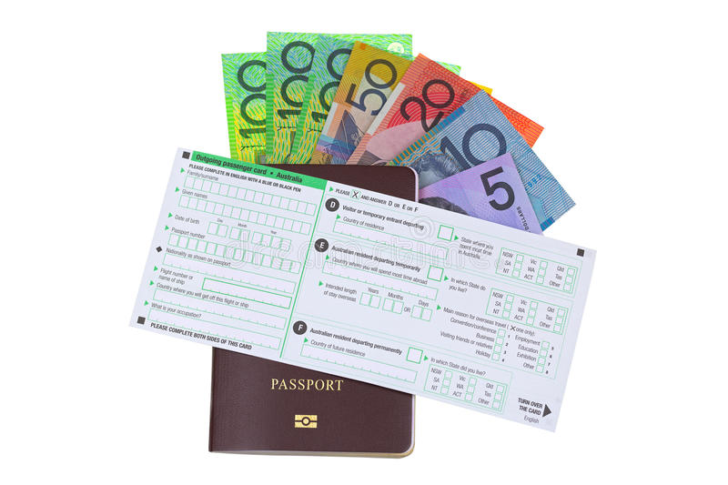 Australia Outgoing passenger card on passport with different Australian dollar money banknote stock photography