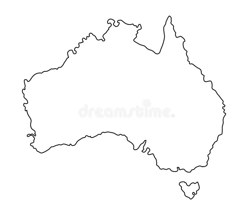 Australia Map Outline Vector.Australia Map Outline High Detail Separated All States Stock Vector