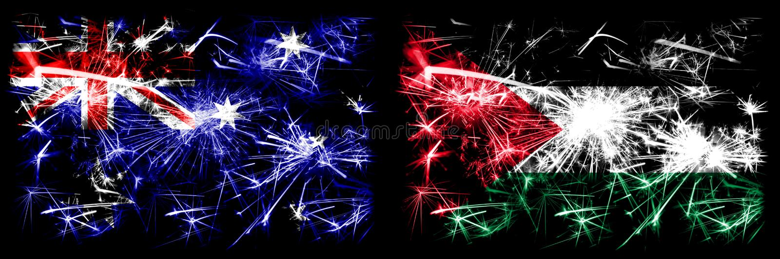 Australia, Ozzie vs Palestine, Palestinian New Year celebration sparkling fireworks flags concept background. Combination of two. Abstract states flags royalty free stock image