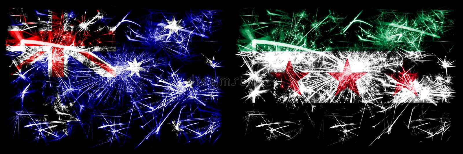 Australia, Ozzie vs Syria, Syrian Arab Republic, three stars, observed New Year celebration sparkling fireworks flags concept. Background. Combination of two royalty free stock photos