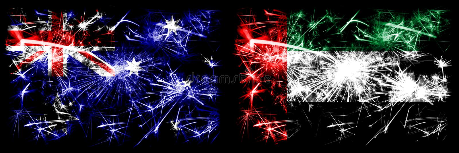 Australia, Ozzie vs United Arab Emirates, Emirati New Year celebration sparkling fireworks flags concept background. Combination. Of two abstract states flags royalty free stock image