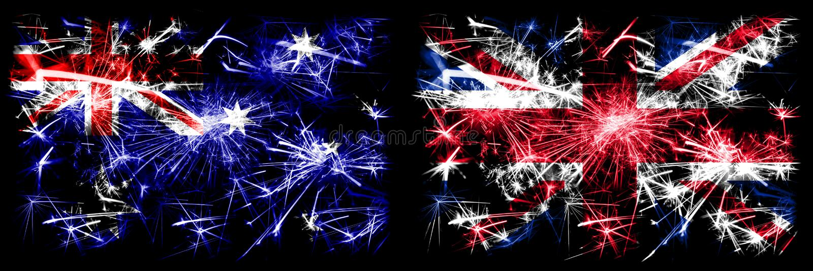 Australia, Ozzie vs United Kingdom, British, Britain New Year celebration sparkling fireworks flags concept background. Combination of two abstract states stock images