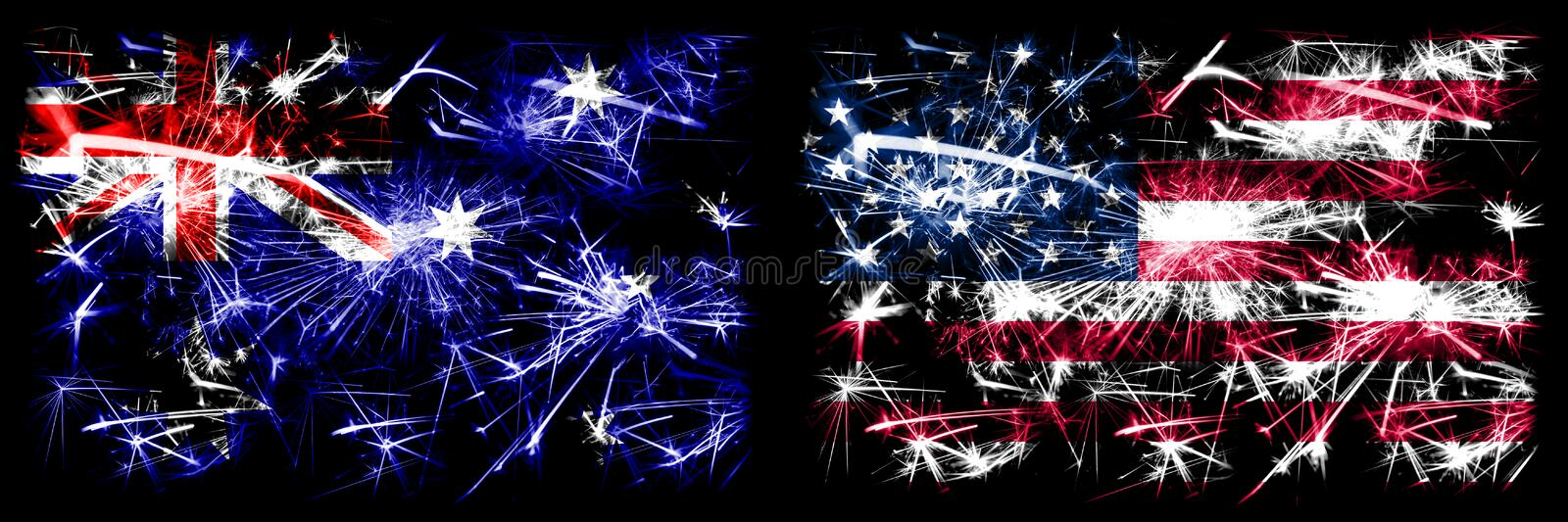 Australia, Ozzie vs United States of America, American, USA New Year celebration sparkling fireworks flags concept background. Combination of two abstract royalty free stock images