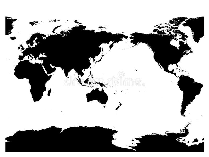 Australia and Pacific Ocean centered world map. High detail black silhouette on white background. Vector illustration stock illustration