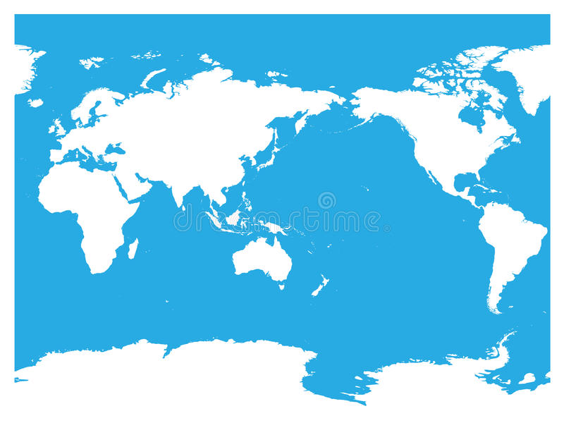 Australia and Pacific Ocean centered world map. High detail white silhouette on blue background. Vector illustration vector illustration