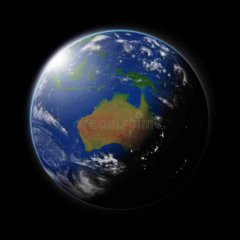 Australia on planet Earth stock illustration