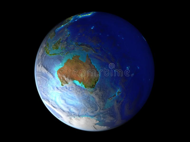 Australia on planet Earth from space illuminated by city lights. 3D illustration isolated on white background. Elements of this. Image furnished by NASA royalty free illustration
