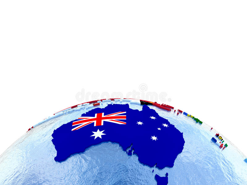Australia on political globe with flags stock illustration download australia on political globe with flags stock illustration illustration of isolated political gumiabroncs Gallery