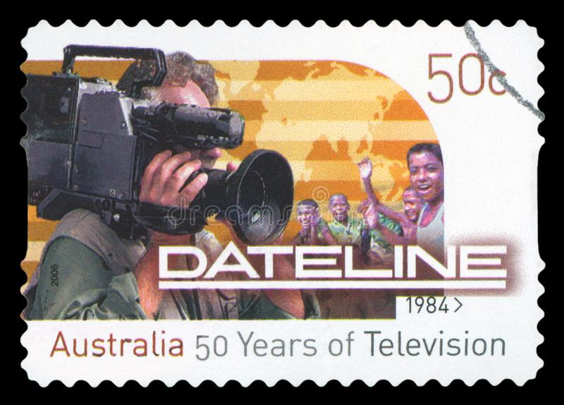 AUSTRALIA - Postage stamp. AUSTRALIA - CIRCA 1984: A stamp printed in Australia shows image celebrating 50 years of Dateline, circa 1984 royalty free stock photos