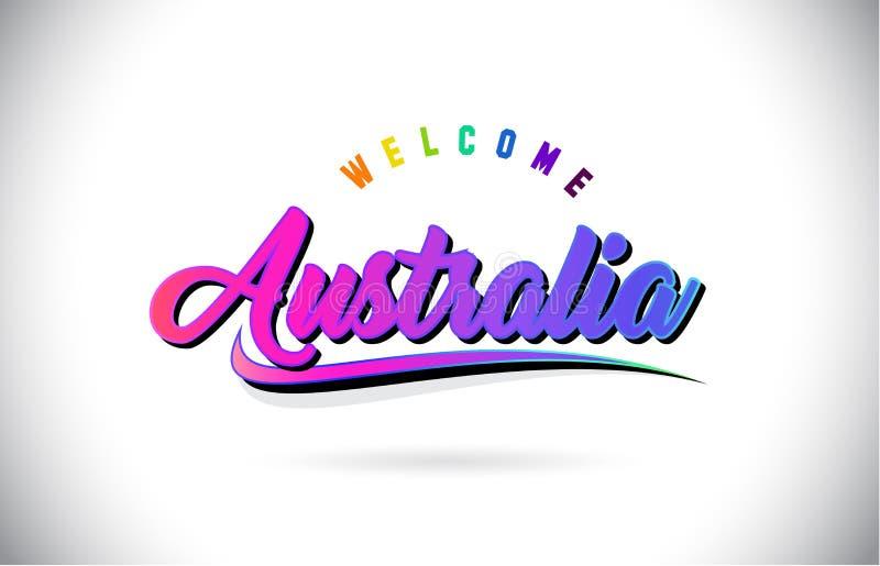 Australia powitanie Formułować tekst z Kreatywnie purpur menchii Ręcznie pisany chrzcielnicą i Swoosh kształta projekta wektorem ilustracji