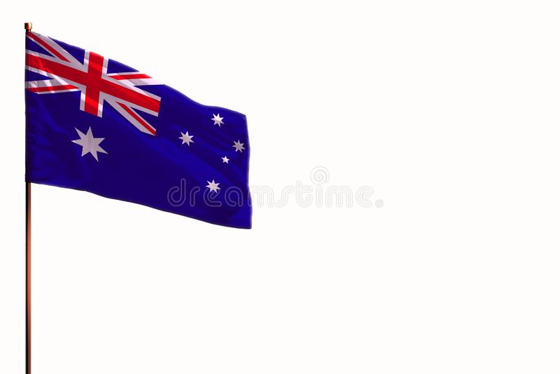 Australia que agitaba aisló la bandera en la maqueta blanca del fondo con el espacio para su contenido fotografía de archivo
