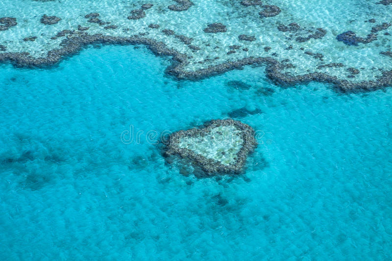 Australia - Queensland - Heart reef in Great Barrier Reef taken. Heart Reef, in the Great Barrier Reef of the Whitsundays, is a stunning composition of coral stock photography