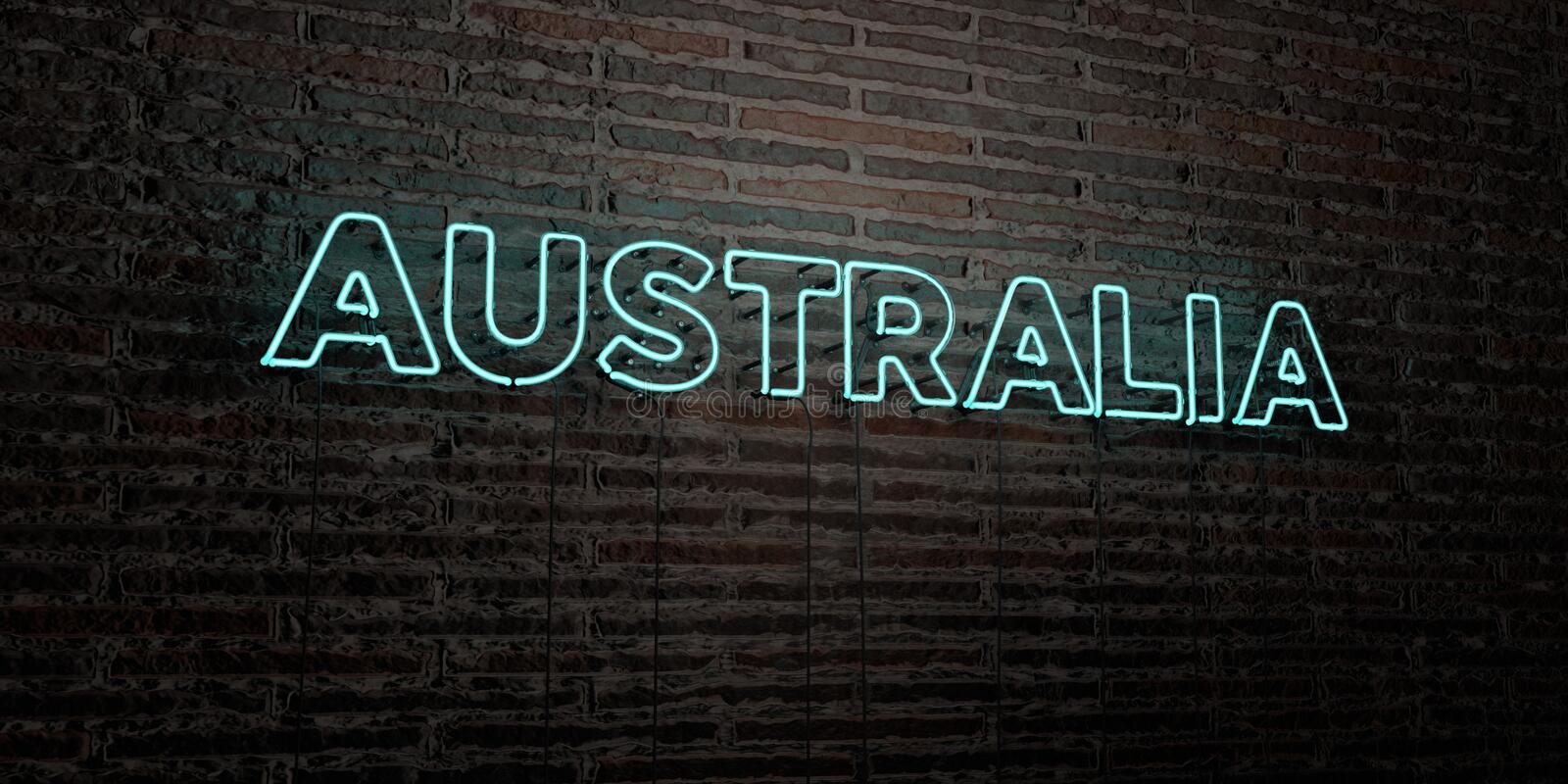 AUSTRALIA -Realistic Neon Sign on Brick Wall background - 3D rendered royalty free stock image royalty free illustration