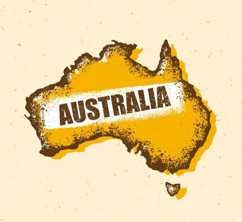 Australia rocznika mapa Uszkadzający Klasyczny kolor żółty Z pyłem I narysami ilustracja wektor