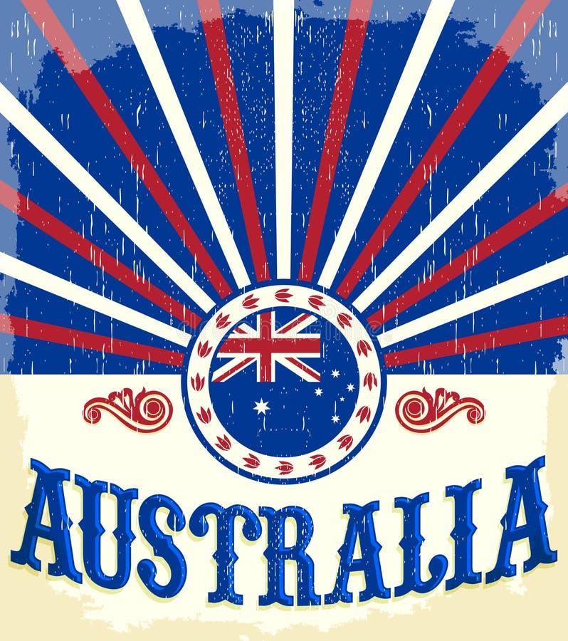 Australia rocznika patriotyczny plakat ilustracja wektor