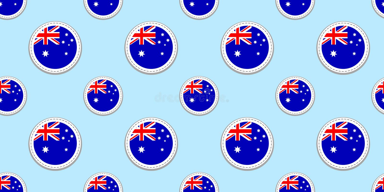 Australia round flag seamless pattern. Australian background. Vector circle icons. Geometric symbols. Texture for sports pages, co vector illustration