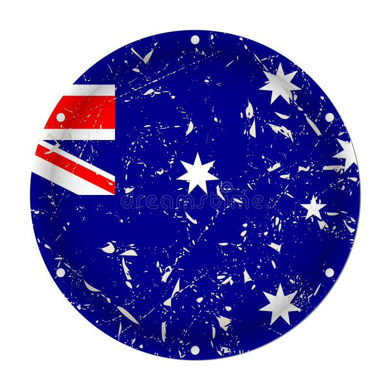 Australia - round metal scratched flag with holes royalty free illustration