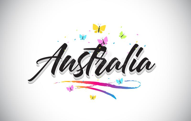 Australia słowa Ręcznie pisany Wektorowy tekst z motylami i Kolorowym Swoosh ilustracja wektor