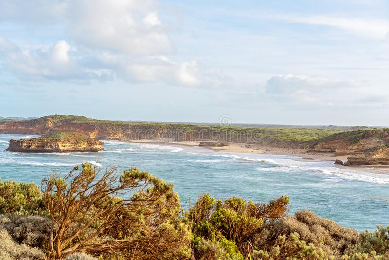 Australia`s Famed Great Ocean Road. The limestone rock formations on the scenic coastline of Australia`s Great Ocean Road - Famous landmarks royalty free stock image