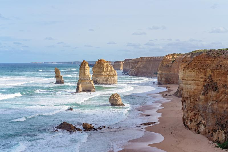 Australia`s Famed Great Ocean Road. The limestone rock formations on the scenic coastline of Australia`s Great Ocean Road - Famous landmarks The Twelve Apostles royalty free stock images