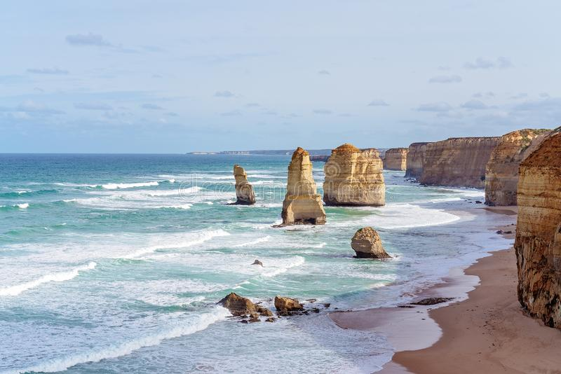 Australia`s Famed Great Ocean Road. The limestone rock formations on the scenic coastline of Australia`s Great Ocean Road - Famous landmarks The Twelve Apostles stock image