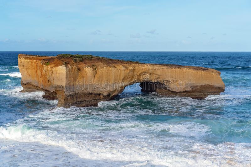 Australia`s Famed Great Ocean Road. The limestone rock formations on the scenic coastline of Australia`s Great Ocean Road - London Bridge royalty free stock photos