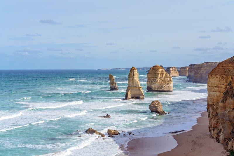 Australia`s Famed The Twelve Apostles On The Great Ocean Road. The famous Twelve Apostles on The Great Ocean Road in Victoria, Australia royalty free stock image