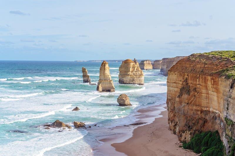 Australia`s Famed The Twelve Apostles On The Great Ocean Road. The famous Twelve Apostles on The Great Ocean Road in Victoria, Australia royalty free stock photo
