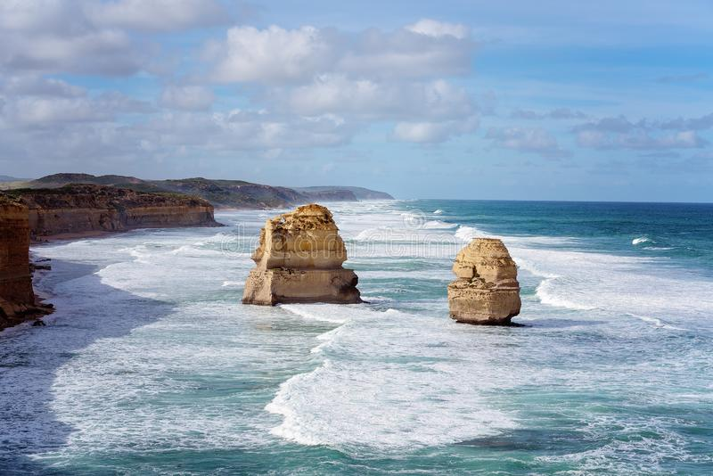 Australia`s Well-Known Great Ocean Road Coastline. The stark and beautiful coastline of Australia`s famous Great Ocean Road stock photos