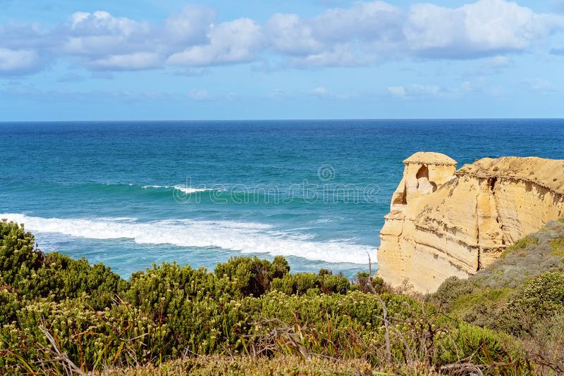 Australia`s Well-Known Great Ocean Road Coastline. The stark and beautiful coastline of Australia`s famous Great Ocean Road stock photo