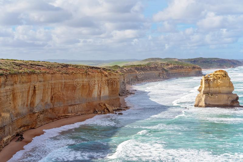 Australia`s Well-Known Great Ocean Road Coastline. The stark and beautiful coastline of Australia`s famous Great Ocean Road royalty free stock images