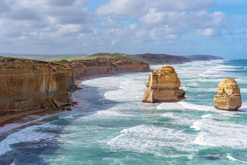 Australia`s Well-Known Great Ocean Road Coastline. The stark and beautiful coastline of Australia`s famous Great Ocean Road royalty free stock photos