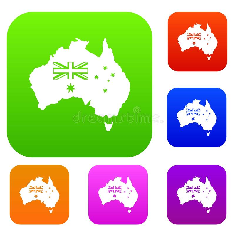 Australia set color collection stock illustration