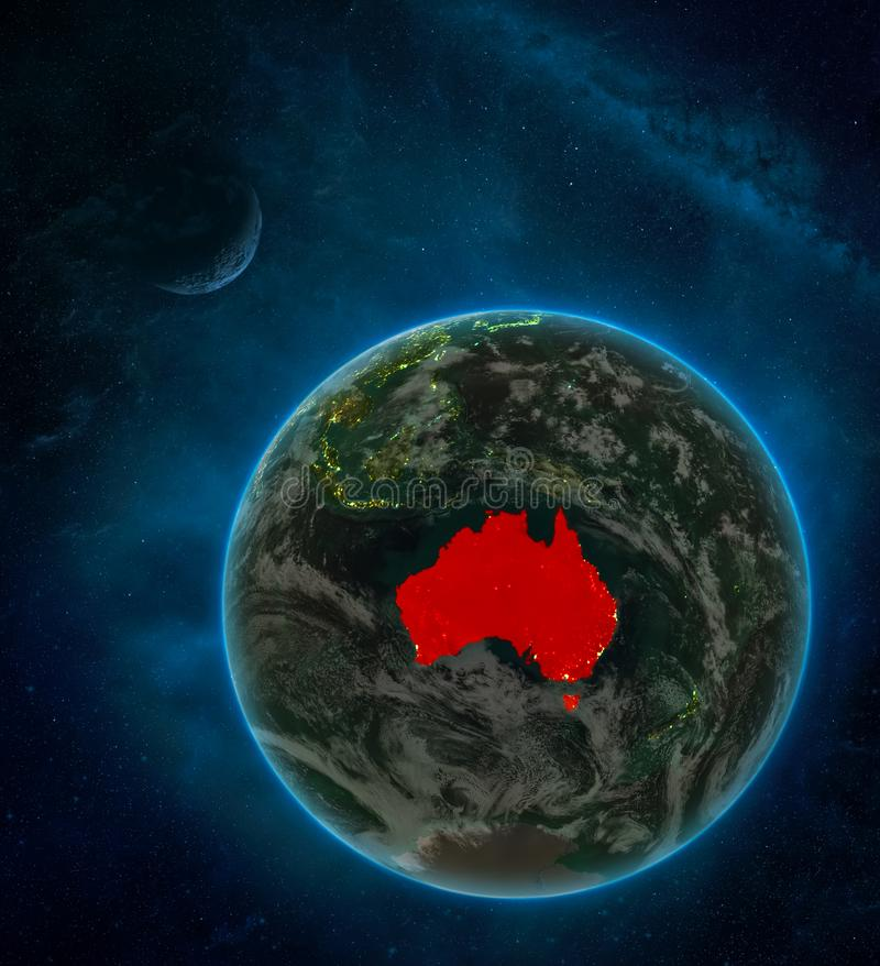 Australia from space on Earth at night surrounded by space with Moon and Milky Way. Detailed planet with city lights and clouds. 3D illustration. Elements of royalty free illustration