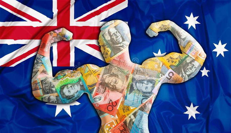 Australia Strong Dollar. Abstract business background. Concept of powerful Australian Dollar. Australia Flag and bodybuilder shaped AUD currency. Financial vector illustration