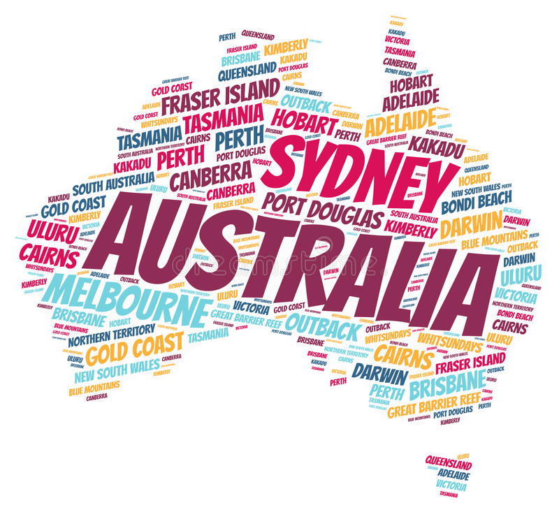 Australia top travel destinations word cloud. Australia Map silhouette word cloud with most popular travel destinations vector illustration